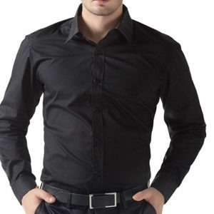 BLACK PLAIN REGULAR FIT DRESS SHIRT BY MEOSONS