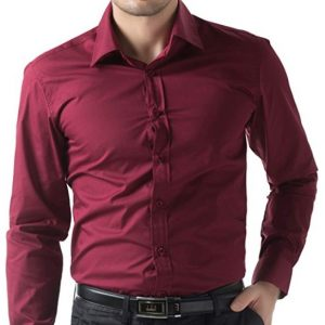RED PLAIN SMART FIT DRESS SHIRT BY MEOSONS