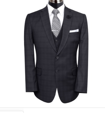 BLACK SELF CHECK 3 PIECE SUIT BY MEOSONS