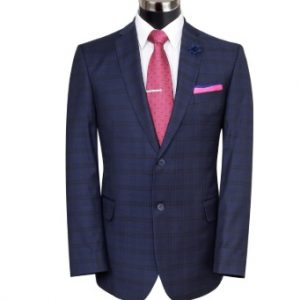 BLACK CHECK ON NAVY BLUE SUIT BY MEOSONS